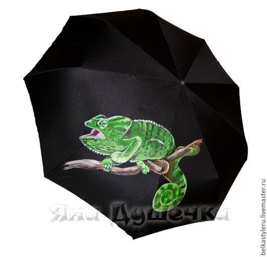 """Зонты ручной работы. Ярмарка Мастеров - ручная работа. Купить Зонт с ручной росписью """"Хамелеон"""". Handmade. Зонт, зонт-трость"""