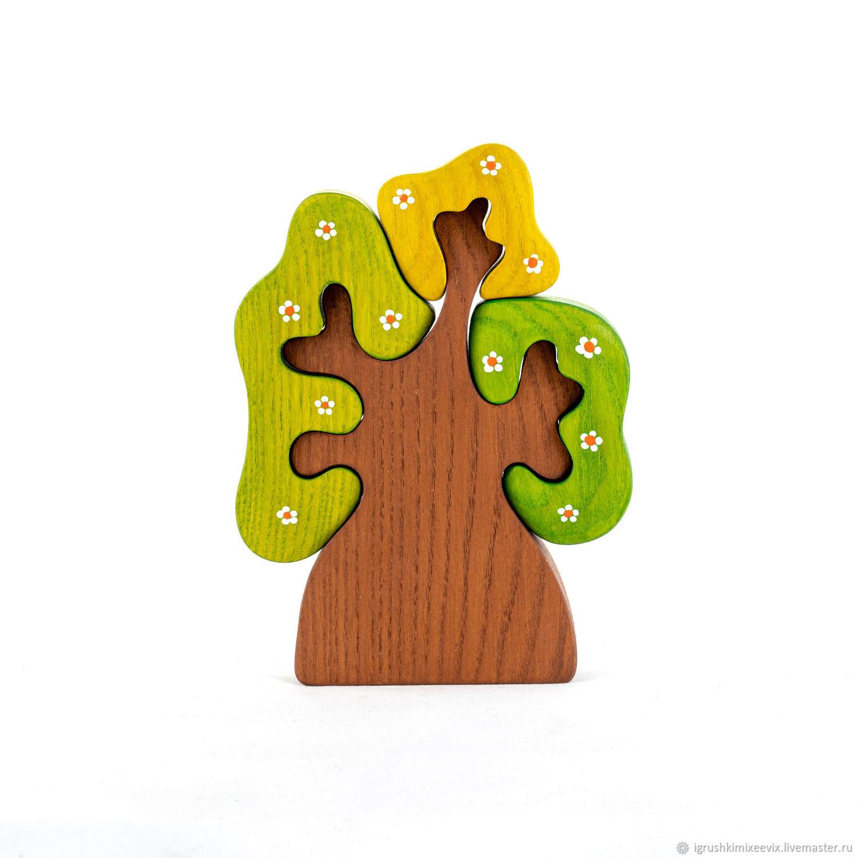 Развивающие игрушки ручной работы. Ярмарка Мастеров - ручная работа. Купить Дерево с тремя кронами весеннее. Вальдорфская игрушка. Пазл. Handmade.