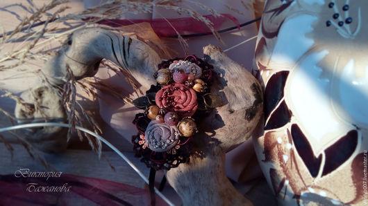 """Диадемы, обручи ручной работы. Ярмарка Мастеров - ручная работа. Купить Ободок-диадема """" Пряный ром"""" текстильный ободок. Осенние мотивы.. Handmade."""