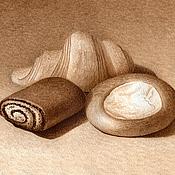 Картины и панно ручной работы. Ярмарка Мастеров - ручная работа Картина акварелью Натюрморт с Булочками, коричневый бежевый гризайль. Handmade.
