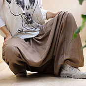 Одежда ручной работы. Ярмарка Мастеров - ручная работа Мужские и женские Aфгани бежевые - лен с хлопком. Handmade.