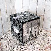 """Для дома и интерьера ручной работы. Ярмарка Мастеров - ручная работа Короб-шкатулка """"Париж""""  для хранения, короб декупаж. Handmade."""