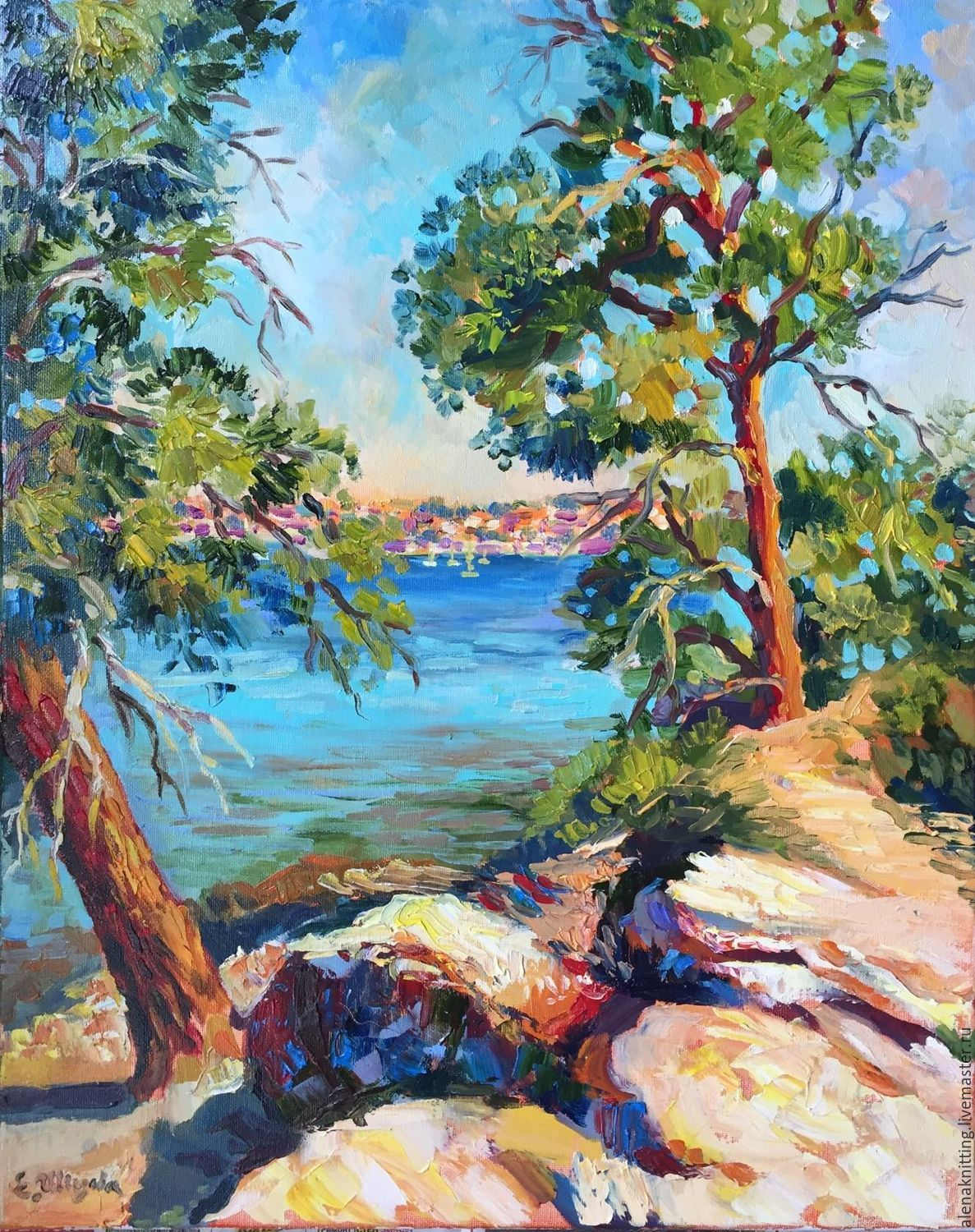 Elena Shvedova oil Painting ` On the shore of the Adriatic` 50h40, 2017.