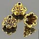 Шапочки для бусин в тибетском стиле Колокольчикиш для использования в сборке украшений\r\nМатериал сплав\r\nЦвет античное золото