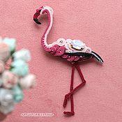 """Украшения ручной работы. Ярмарка Мастеров - ручная работа Сутажная брошь """"фламинго"""". Handmade."""
