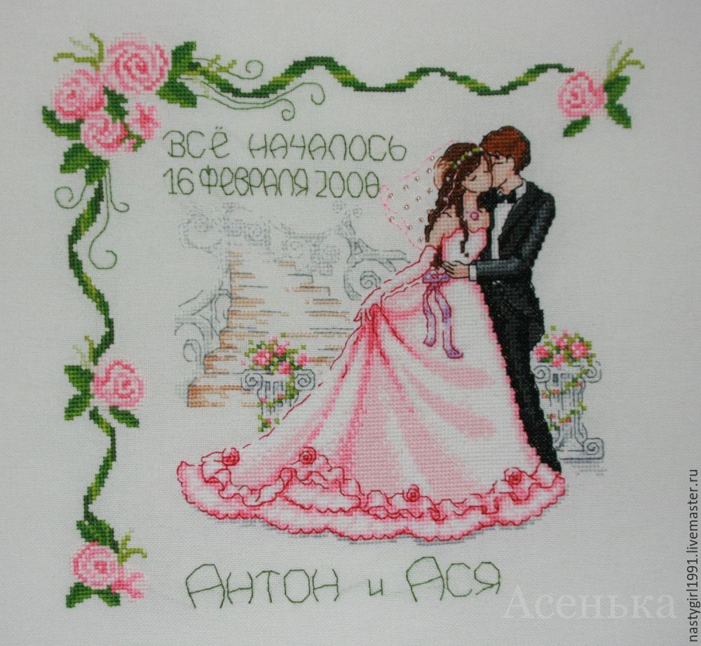 Вышивание свадебных метрик