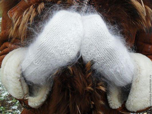 Варежки, митенки, перчатки ручной работы. Ярмарка Мастеров - ручная работа. Купить Варежки Снежный блюз. Handmade. Белый, вязание