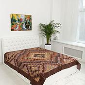 handmade. Livemaster - original item Brown 220x225cm patchwork double bedspread. Handmade.