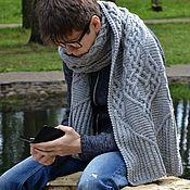"""Аксессуары ручной работы. Ярмарка Мастеров - ручная работа В наличии длинный теплый вязаный шарф серый  """"Северная сага"""". Handmade."""