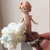 Антикварная прищепочка -игрушка на елку Снежная Роза