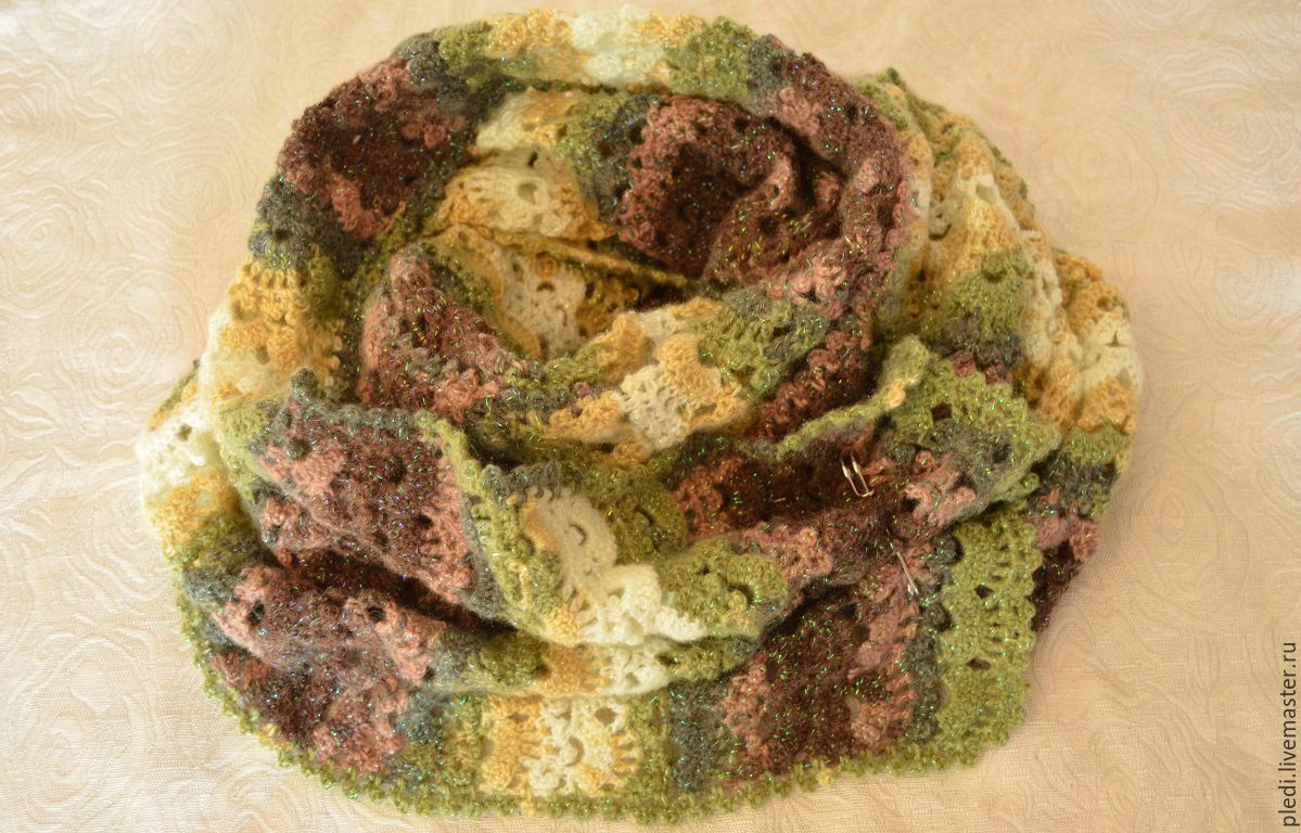 Scarf-Snood green-brown with lurex, Scarves, Moscow,  Фото №1
