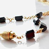 Украшения ручной работы. Ярмарка Мастеров - ручная работа BLACK GOLD мини колье с черным турмалином. Handmade.