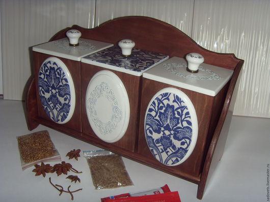 Кухня ручной работы. Ярмарка Мастеров - ручная работа. Купить Полка с тремя коробами декупаж коричнево-белый-синий цвет. Handmade.