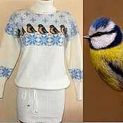 Одежда ручной работы. Ярмарка Мастеров - ручная работа Платье - свитер вязаное Птичка синичка. Handmade.