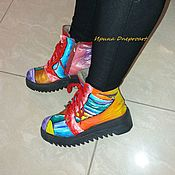 """Обувь ручной работы. Ярмарка Мастеров - ручная работа Роспись ботинок""""Красочная зима"""". Handmade."""