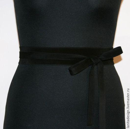 Пояса, ремни ручной работы. Замшевый пояс-кушак `Black 4`. Lanita Design. Ярмарка Мастеров.