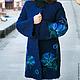"""Верхняя одежда ручной работы. Ярмарка Мастеров - ручная работа. Купить Пальто """"Вечерние цветы"""". Handmade. Тёмно-синий, шанель"""