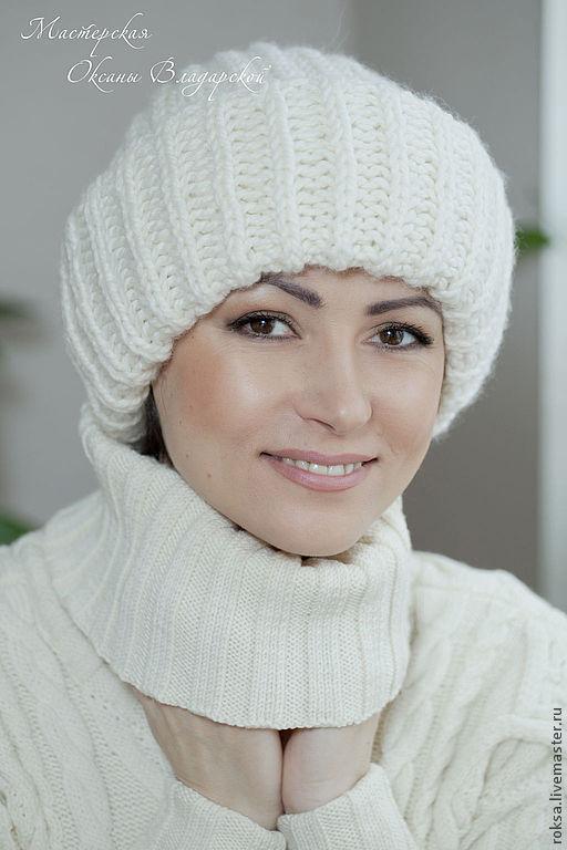 шапка вязаная женская с отворотом герда купить в интернет