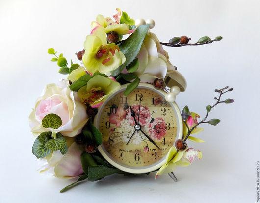 """Интерьерные композиции ручной работы. Ярмарка Мастеров - ручная работа. Купить Часы-будильник """"Нежность"""". Handmade. Комбинированный, ручная работа"""