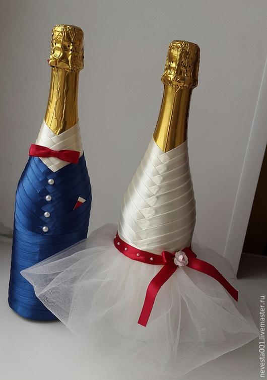 Свадебные аксессуары ручной работы. Ярмарка Мастеров - ручная работа. Купить свадебные бутылочки. Handmade. Свадебные аксессуары, свадебное