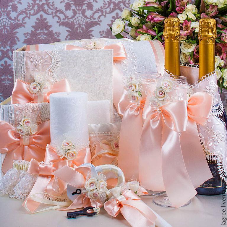 Свадебные аксессуары своими руками в персиковом цвете 5