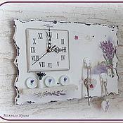 """Для дома и интерьера ручной работы. Ярмарка Мастеров - ручная работа Часы в прихожую с полочкой """"Лаванда"""" (""""В стиле прованс""""). Handmade."""