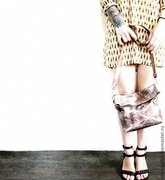 женская кожаная сумка, сумка из винтажной кожи, женская сумка на ремне, женская сумка через плечо, женская сумка-почтальон, кожаная сумка через плечо, коричневая женская сумка, серебряная  сумка