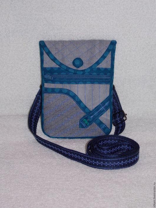 Для телефонов ручной работы. Ярмарка Мастеров - ручная работа. Купить Джинсовая сумочка для телефона,Чехол с кармашком, Серый Синий Бирюза. Handmade.