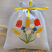 Для дома и интерьера ручной работы. Ярмарка Мастеров - ручная работа Полевые цветы. Льняной мешочек. Handmade.