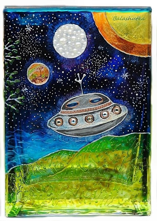 """Вазы ручной работы. Ярмарка Мастеров - ручная работа. Купить Ваза """"Космическое путешествие"""". Handmade. Витражная роспись, море, стекло"""