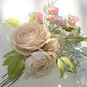 Украшения handmade. Livemaster - original item Silk flowers. A boutonniere of ROSES AND sweet PEAS.Natural silk. Handmade.