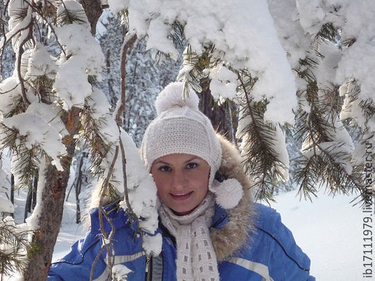 """Шапки ручной работы. Ярмарка Мастеров - ручная работа. Купить """"Зима-Холода""""-шапка ушанка+шарф. Handmade. Белый, шапка зимняя"""