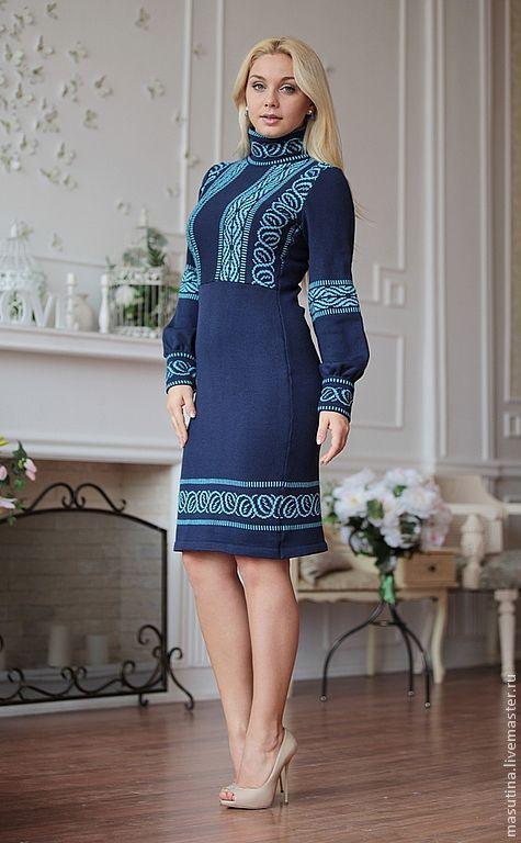 """Платья ручной работы. Ярмарка Мастеров - ручная работа. Купить Платье """"Tallin"""". Handmade. Синий, полушерсть"""