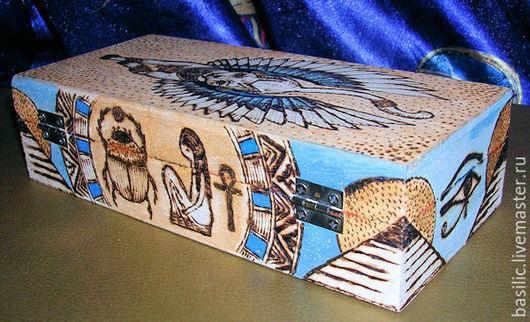 """Шкатулки ручной работы. Ярмарка Мастеров - ручная работа. Купить Шкатулка в египетском стиле  """"Бастет"""". Handmade. Бирюзовый, скарабей, лотосы"""