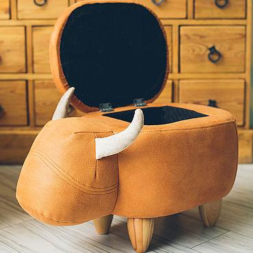 Мебель ручной работы. Ярмарка Мастеров - ручная работа Пуф с ящиком для хранения Оранжевый Бык (Мебель в стиле лофт). Handmade.