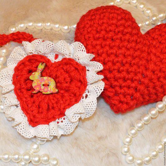 Подарки для влюбленных ручной работы. Ярмарка Мастеров - ручная работа. Купить Вязаные сердца. Handmade. Вязаное сердце, Вязание крючком