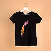 Одежда ручной работы. Ярмарка Мастеров - ручная работа Футболка с вышивкой black. Handmade.