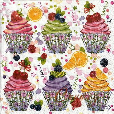 Материалы для творчества ручной работы. Ярмарка Мастеров - ручная работа Cupcake с фруктами и ягодами салфетка для декупажа. Handmade.