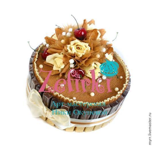 Кулинарные сувениры ручной работы. Ярмарка Мастеров - ручная работа. Купить Торт из конфет, шоколада и печенья корпоративные подарки. Handmade.