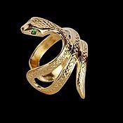 """Украшения ручной работы. Ярмарка Мастеров - ручная работа Кафф """"Змейка"""" из золота 585 пробы с цаворитами. Handmade."""