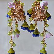 Украшения handmade. Livemaster - original item Earrings with flowers made of Czech glass and clay Cage with a bird. Handmade.