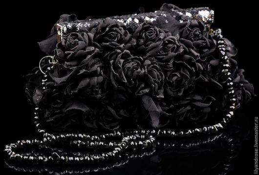 Женские сумки ручной работы. Ярмарка Мастеров - ручная работа. Купить Сумочка с черными розами. Handmade. Вечернее украшение