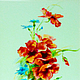 Картины цветов ручной работы. Ярмарка Мастеров - ручная работа. Купить Маки и васильки, витражная роспись по стеклу. Handmade. картина