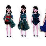 Украшения ручной работы. Ярмарка Мастеров - ручная работа Броши-платья Оригами  для куклы на дизайнерской футболке.. Handmade.