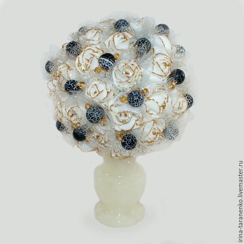 Цветы из агата `Агатовый подарок` в вазочке из оникса