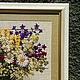 """Натюрморт ручной работы. Вышитая картина """" Полевые цветы"""". Vitatimdolls. Интернет-магазин Ярмарка Мастеров. Вышивка крестом, лен"""