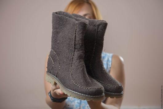 Обувь ручной работы. Ярмарка Мастеров - ручная работа. Купить Ботинки Темный шоколад. Handmade. Обувь ручной работы