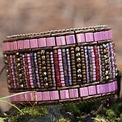 Украшения ручной работы. Ярмарка Мастеров - ручная работа Браслет широкий розовый на шнуровке, вышивка бисером (0272). Handmade.