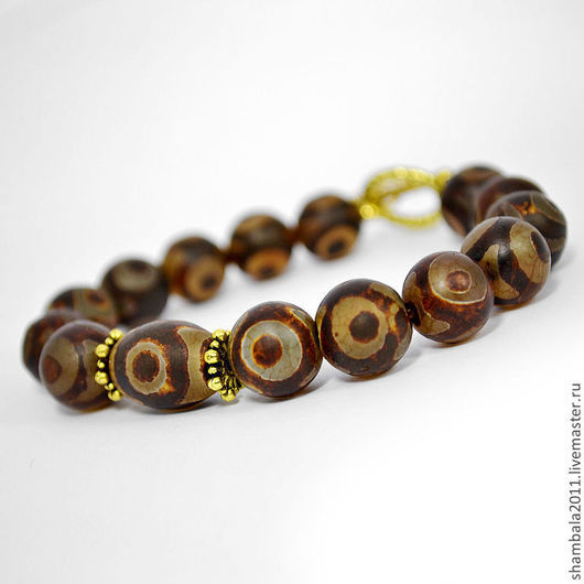 Браслет `Око Будды` из тибетского агата Дзи. Талисман. Амулет. Оберег. Подарок.