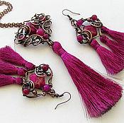 Украшения ручной работы. Ярмарка Мастеров - ручная работа Медный комплект с кистями Пурпурная роза. Handmade.